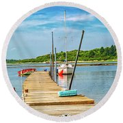 Paradise Sailing Day In Maine Round Beach Towel