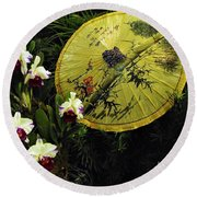 Parasol Among The Orchids Round Beach Towel