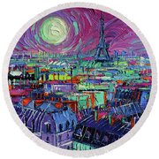 Paris By Moonlight Round Beach Towel
