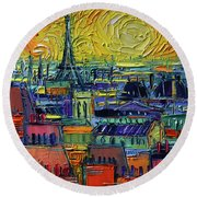 Paris Rooftops View From Centre Pompidou - Textural Impressionist Stylized Cityscape Mona Edulesco Round Beach Towel