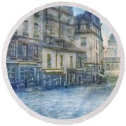 Paris, Rue Du Haut Pave 1866 Round Beach Towel