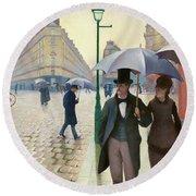 Paris Street In Rainy Weather - Digital Remastered Edition Round Beach Towel
