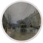 Paris Street Scene  Round Beach Towel