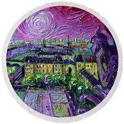 Paris View With Gargoyles Diptych Oil Painting Right Panel Round Beach Towel
