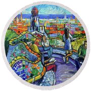 Park Guell Enchanted Visitors - Impasto Palette Knife Stylized Cityscape Round Beach Towel