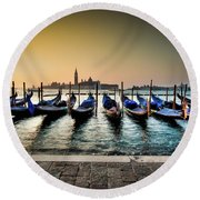 Parked Gondolas, Early Morning In Venice, Italy.  Round Beach Towel