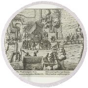 Parma Knighted In The Order Of The Golden Fleece, 1585, Anonymous, After Frans Hogenberg, 1613 - 161 Round Beach Towel