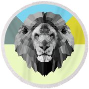 Party Lion Round Beach Towel