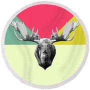 Party Moose Round Beach Towel