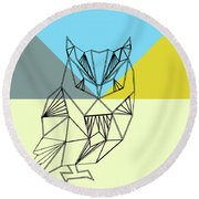 Party Owl Round Beach Towel