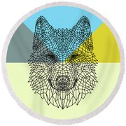 Party Wolf Round Beach Towel