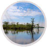 Pasquotank River North Carolina Round Beach Towel