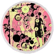 Past Patterns And Bygone Buttons Round Beach Towel
