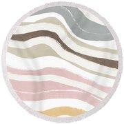 Pastel Waves 2- Art By Linda Woods Round Beach Towel