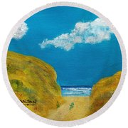 Path To The Ocean Round Beach Towel