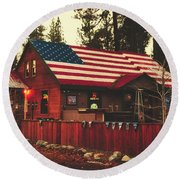 Patriotic Bar And Grill Round Beach Towel