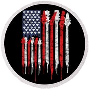 Patriotic Guitar Flag America Lovers Guitar Music Lovers Gifts Round Beach Towel