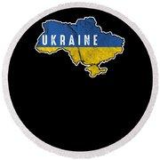 Patriotic Ukraine Flag Ukrainian Nationalism Round Beach Towel