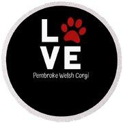 Paw Love Pembroker Welsh Corgi Round Beach Towel