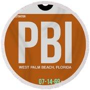 Pbi West Palm Beach Luggage Tag II Round Beach Towel