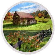 Peaceful Country Morning Round Beach Towel