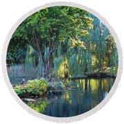 Peaceful Oasis - Japanese Garden Lake Round Beach Towel
