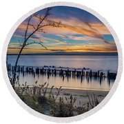 Peaceful Sunset At Sandy Hook Round Beach Towel