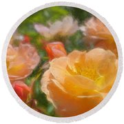 Peach Yellow Roses Round Beach Towel