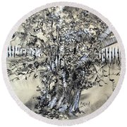 Pear Tree And Pickets Round Beach Towel
