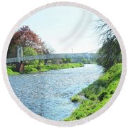 pedestrian bridge over river Tweed at Peebles Round Beach Towel