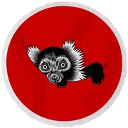 Peeking Lemur - Ink Illustration Round Beach Towel