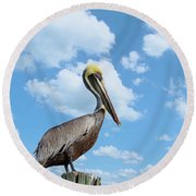 Pelican At The Beach Round Beach Towel by Kim Hojnacki