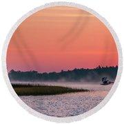 Pelican Mist Round Beach Towel by Patti Deters