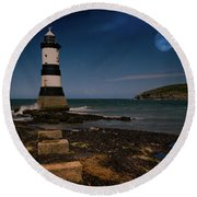 Penmon Lighthouse And Puffin Island Round Beach Towel