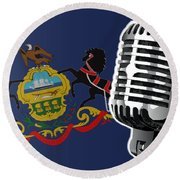 Pennsylvania Flag And Microphone Round Beach Towel