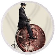 Penny Farthing Round Beach Towel by Eric Fan