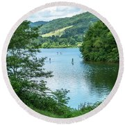 People Use Stand-up Paddleboards On Lake Habeeb At Rocky Gap Sta Round Beach Towel