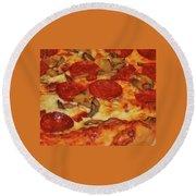 Pepperoni Pizza Mushrooms Round Beach Towel