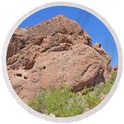 Phoenix Arizona Papago Park  Blue Sky Red Rocks Scrub Vegetation Yellow Flowers 3182019 5340 Round Beach Towel