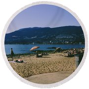 photograph of thid beach which is located in Stanley Park Vancouver. Third beach is a popular location for tourists and locals alike. Round Beach Towel