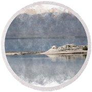 Photography At A Sandbar Salton Sea In Digital Watercolor Round Beach Towel by Colleen Cornelius