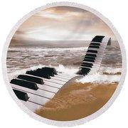 Piano Fantasy Round Beach Towel