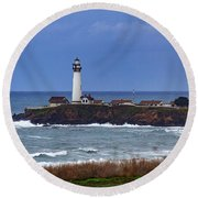 Pigeon Point Light Station In San Mateo County Ca Round Beach Towel