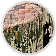 Pilings In Abstract Round Beach Towel