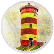 Pilsum Lighthouse Leuchtturm  Round Beach Towel