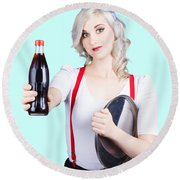 Pin-up Girl Holding Soft Drink Bottle Round Beach Towel