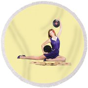 Pin-up Woman Balancing Sound With Record Music Round Beach Towel