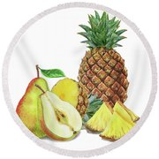 Pineapple Pear Watercolor Food Illustration  Round Beach Towel