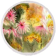 Pink And Gold Round Beach Towel