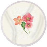 Pink And Orange Flowers On Subtle Cream Marble Round Beach Towel